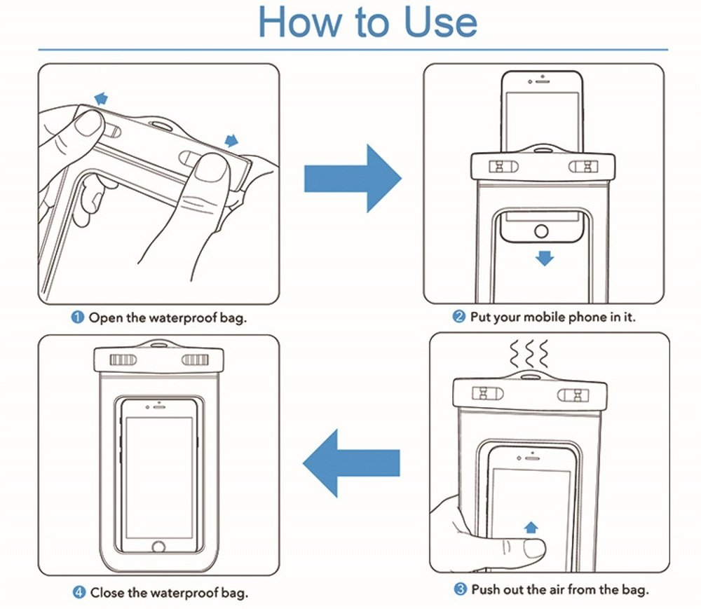 how to use Waterproof Bags Underwater Phone Case For iPhone 03
